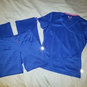 Smitten Scrub Set Galaxy Blue Small Top & XS Pants